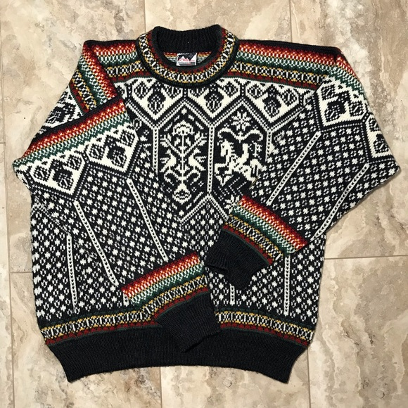 DALE OF NORWAY MEN/'S LILLEHAMMER 100/% WOOL SWEATER BLACK//WHITE NEW